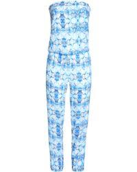 Heidi Klein Strapless Printed Voile Jumpsuit Blue