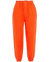 Joie Derren B Cropped Linen Tapered Trousers - Orange