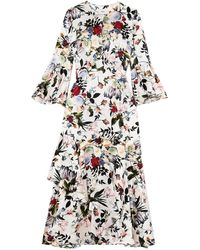 Erdem Florence Floral-print Silk Midi Dress - White