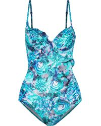 La Perla - Open-back Ruffle-trimmed Floral-print Underwired Swimsuit - Lyst
