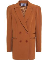 Walter Baker Double-breasted Crepe Blazer Light Brown