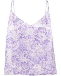 Ganni Top aus glänzendem twill mit floralem print - Lila