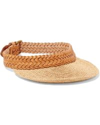 Zimmermann Braided Leather And Raffia Visor - Multicolour