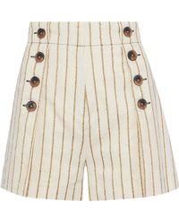 10 Crosby Derek Lam - Button-embellished Striped Twill Shorts - Lyst