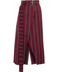 Solace London - Apolline Striped Wool And Cotton-blend Wrap Midi Skirt - Lyst