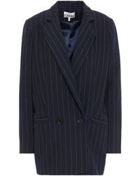 Ganni Double-breasted Pinstriped Woven Blazer Midnight Blue