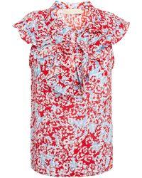 Paloma Blue Sophia Ruffled Floral-print Silk Crepe De Chine Top - Red