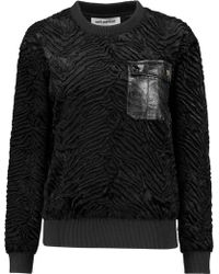 Self-Portrait Leather-trimmed Faux Fur Sweatshirt - Black