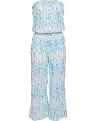 Heidi Klein Shirred Printed Cotton-gauze Jumpsuit White - Blue