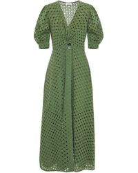 Sandro Sheraze Broderie Anglaise Cotton Midi Dress Army Green