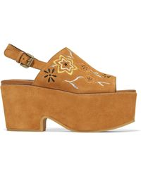 See By Chloé - Embroidered Suede Platform Sandals - Lyst