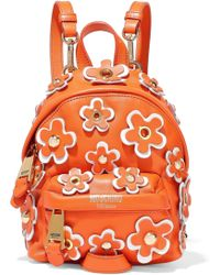 Moschino - Floral-appliquéd Leather Backpack - Lyst