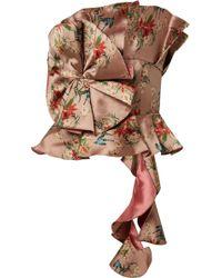 Johanna Ortiz - Woman Fairy Tale Ruffled Floral-print Satin-jacquard Top Antique Rose - Lyst