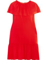 Vanessa Seward Delphes Ruffled Crepe De Chine Mini Dress - Red