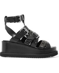 McQ - Roman Studded Cutout Leather Wedge Sandals - Lyst