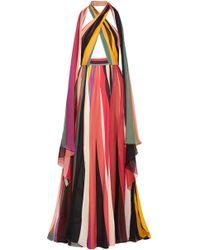 Elie Saab - Woman Striped Silk-blend Georgette Halterneck Gown Multicolour - Lyst
