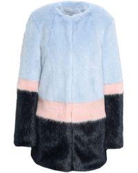 Shrimps - Color-block Faux Fur Coat Sky Blue - Lyst