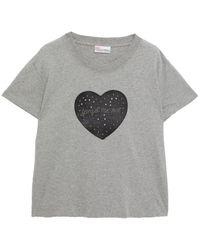 RED Valentino Embellished Mélange Cotton-jersey T-shirt - Grey