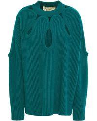 Antonio Berardi Cutout Ribbed Merino Wool And Cashmere-blend Jumper Emerald - Green