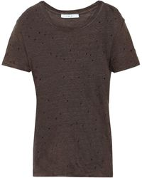 IRO Clay Distressed Linen-jersey T-shirt Taupe - Multicolor