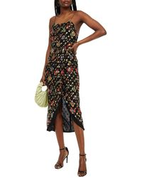 10 Crosby Derek Lam Wrap-effect Floral-print Metallic Fil Coupé Georgette Midi Dress - Black