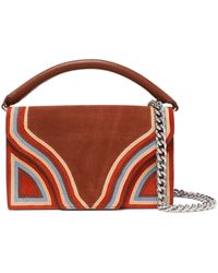 Diane von Furstenberg Bonne Soirée Leather-paneled Striped Suede Shoulder Bag Brown