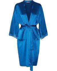 Stella McCartney - Eloise Enchanting Lace-trimmed Silk-blend Satin Robe Bright Blue - Lyst