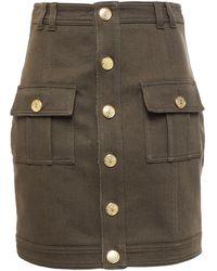 Balmain Button-detailed Cotton-blend Twill Mini Skirt Army Green
