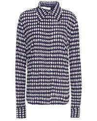 Victoria Beckham Houndstooth Jersey Shirt - Blue