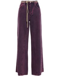 Ganni Belted Faded High-rise Wide-leg Jeans - Purple