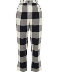 Mara Hoffman Dita Cropped Gingham Organic Cotton-twill Tapered Trousers - Black