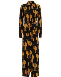 Bella Freud Belted Printed Silk Crepe De Chine Maxi Dress - Black