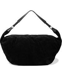 The Row Sling 15 Leather-trimmed Suede Shoulder Bag Black