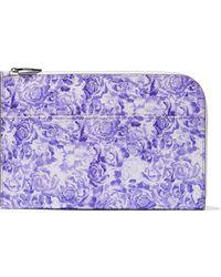 Ganni Floral-print Textured-leather Pouch - Multicolour