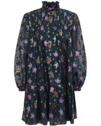 Paul & Joe Ruffle-trimmed Metallic Floral-jacquard Mini Dress - Grey