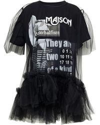 MM6 by Maison Martin Margiela Oberteil aus baumwoll-jersey und tüll mit print und rüschen - Schwarz