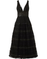 Costarellos Sequined Embroidered Tulle Gown - Black