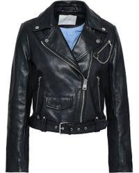 Maje - Woman Bassung Leather Biker Jacket Black - Lyst