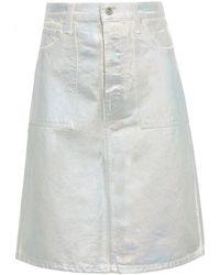 Helmut Lang Factory Iridescent Coated-denim Skirt Silver - Metallic