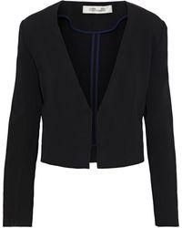 Diane von Furstenberg Dream Cropped Crepe Jacket Black