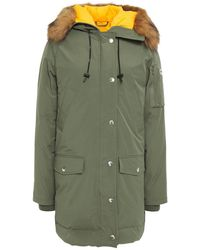 KENZO Faux Fur-trimmed Shell Hooded Down Parka Grey Green