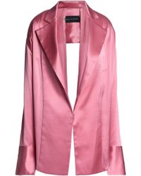 Michael Lo Sordo Double-breasted Ring-embellished Silk-satin Jacket Pink