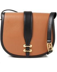 Alberta Ferretti Two-tone Smooth And Pebbled-leather Shoulder Bag - Brown