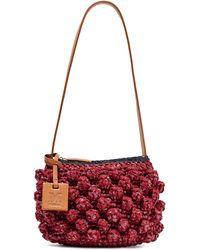 M Missoni Leather-trimmed Crocheted Cotton-blend And Raffia Shoulder Bag Burgundy - Multicolor