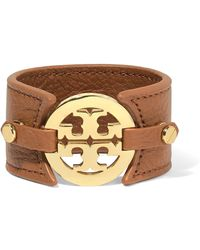 Tory Burch - Textured-leather And Gold-tone Cuff - Lyst