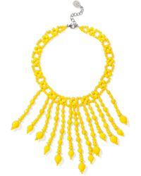 Ben-Amun - Woman Beaded Silver-tone Necklace Yellow - Lyst