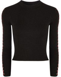 Alexander McQueen - Lace-up Ribbed Silk-blend Top - Lyst