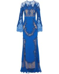 Zuhair Murad - Appliquéd Lace-paneled Silk-blend Cady Gown - Lyst