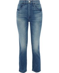 3x1 - Cropped Distressed High-rise Slim-leg Jeans - Lyst