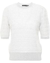 Veronica Beard Montgomery Striped Pointelle-knit Cotton Top Light Grey